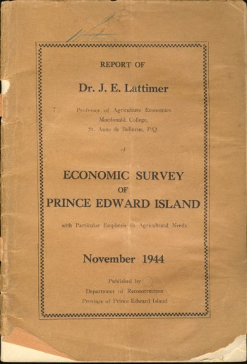 Image for Report of Economic Survey of Prince Edward Island with Particular Emphasis on Agricultural Needs
