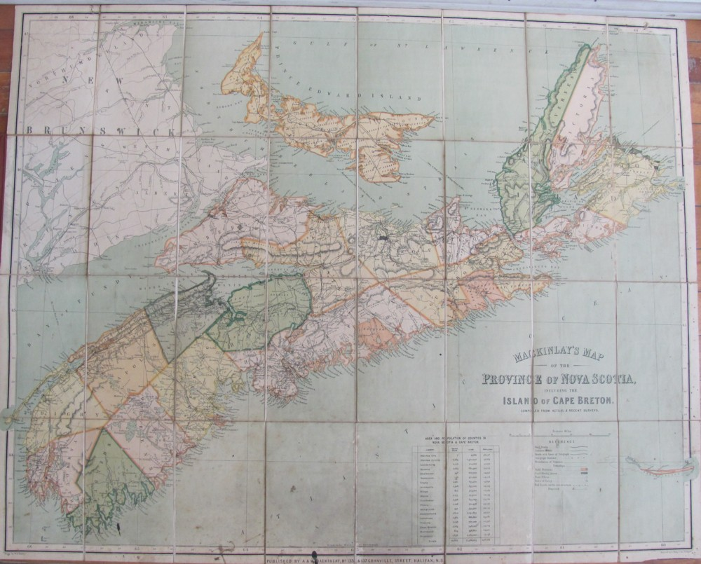 Image for MacKinlay's Map of the Province of Nova Scotia, Including the Island of Cape Breton. Compiled From Actual & recent Surveys