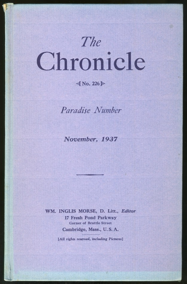 Image for The Chronicle No. 226 November 1937 Paradise Number