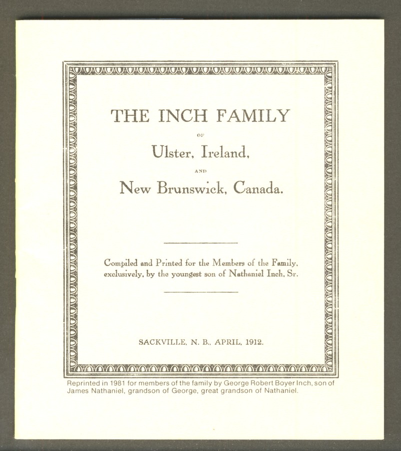 Image for The Inch Family of Ulster, Ireland, and the Province of New Brunswick, Canada