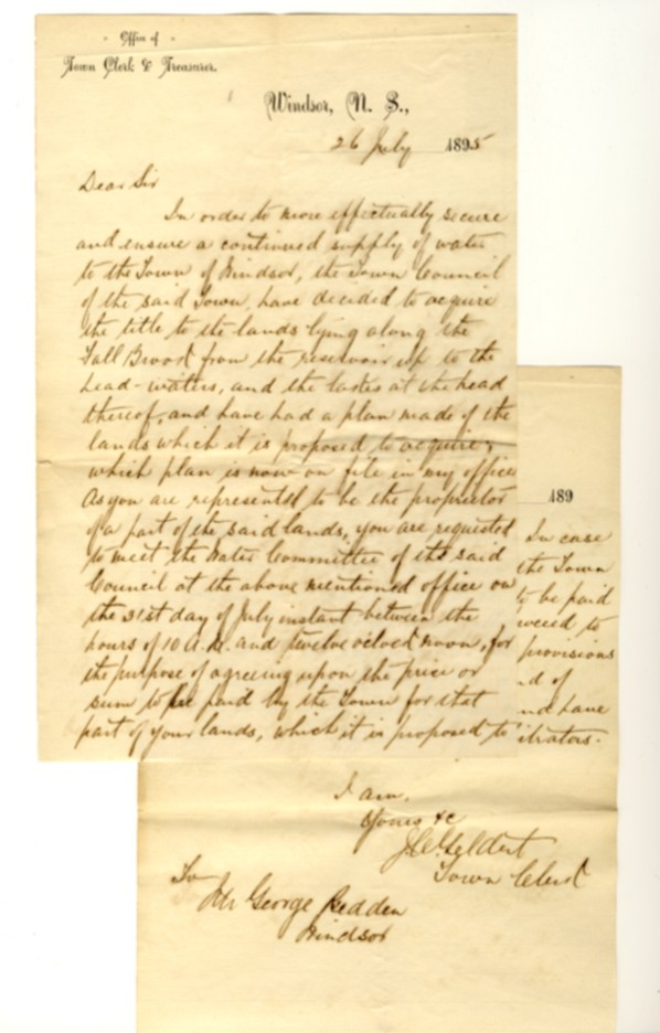 Image for 2 page manuscript letter on the letterhead of Office of Town Clerk & Treasurer, Windsor, N.S. dated 26 July 1895