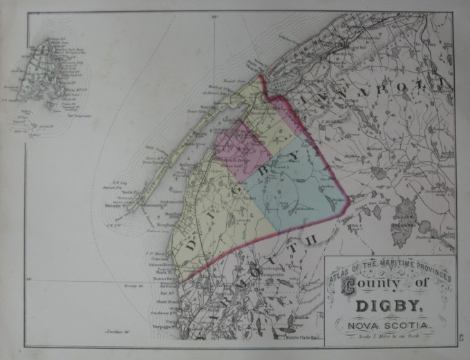 Image for Map: County of Digby, Nova Scotia.  16 x 13 [Plate 65] Single sheet with some topographic detail