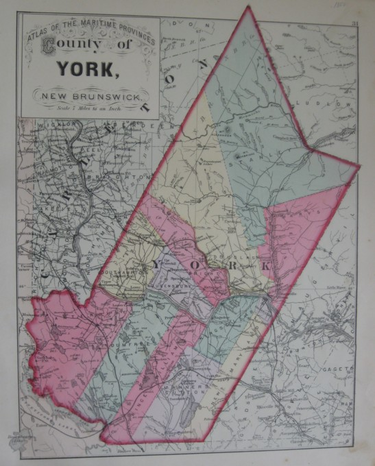 Image for Map: County of York, New Brunswick.  16 x 13 [Plate #31] Single sheet with some topographic detail