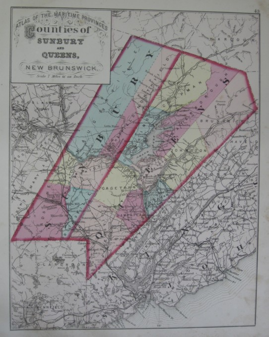 Image for Map: Counties of Sunbury and Queens, New Brunswick.  16 x 13 [Plate #43] Single sheet with some topographic detail