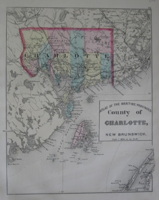 Image for Map: County of Charlotte, New Brunswick.  16 x 13 [Plate #33] Single sheet with some topographic detail