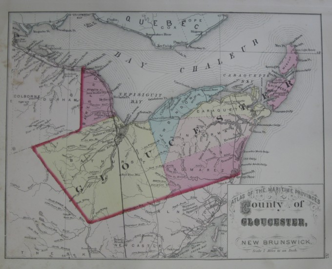 Image for Map: County of Gloucester, New Brunswick.  16 x 13 [Plate #35] Single sheet with some topographic detail