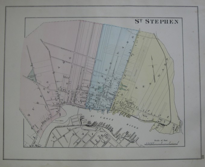 Image for Map: (Town of) St. Stephen, New Brunswick.   16 x 13 [Plate #89] Single sheet with some  topographic detail- showing street plan & wards