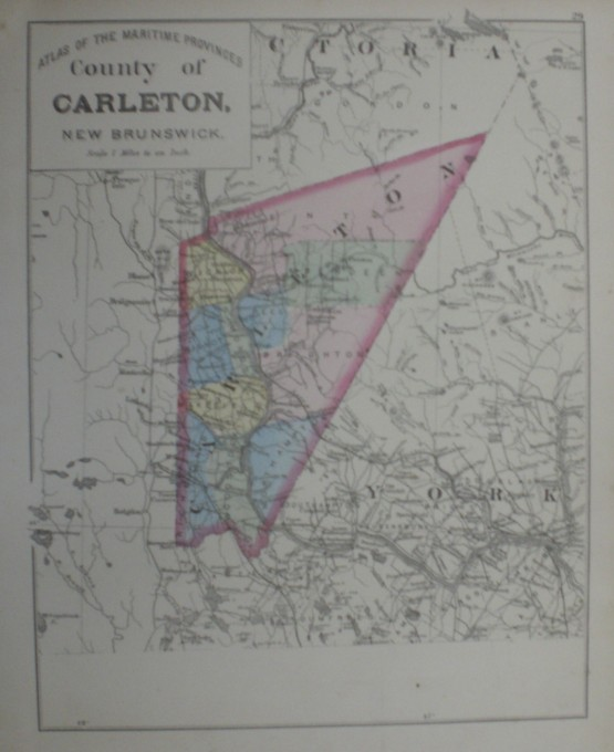Image for Map: County of Carlton, New Brunswick.  16 x 13 [Plate 29] Single with some topographic detail