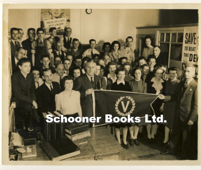 Image for Photograph of Group with Victory Bond Flag in Office with Posters 1940's