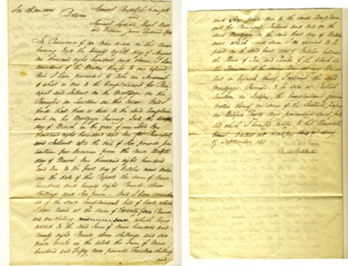 Image for Sir Brenton Halliburton handwritten decision in Chancery in case between Samuel Rudolph, complainant and Samuel Lydian, Hugh Bell and William James Lydian, Defendents. Signed and dated Halifax, N.S. 7th day of September 1811.