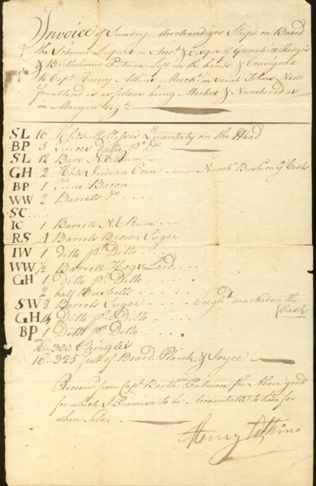 Image for Hand written invoice Newfoundland 1750s signed by Captain Henry Atkins.  'Invoice of Sunday Merchandizes(?) Ships on Board the Schooner Leopard on Accot. & Cisque(?) Gamahill Hodges & Bartholomew Putman. Left in the hands & consigned to Capt. Henry Atkins