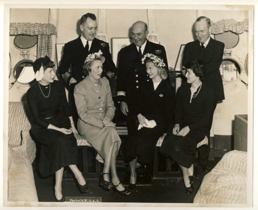 Image for RCN Photograph of Barbara-Ann Scott, Commodore K.F. Adams, and Others Onboard HMCS Magnificent, at Halifax, Nova Scotia, Sunday, April 16th, 1950