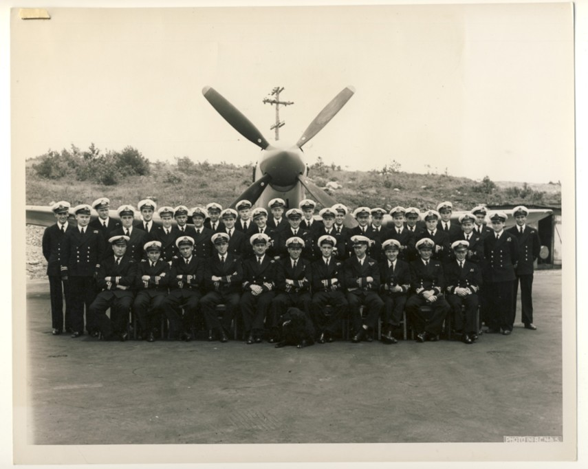 Image for RCN Photograph of the Aircrew and Engineer Officers of the RCN's 18th Carrier Air Group in front of One of Their Firefly (Mk. IV) Aircraft, 6 July, 1949.