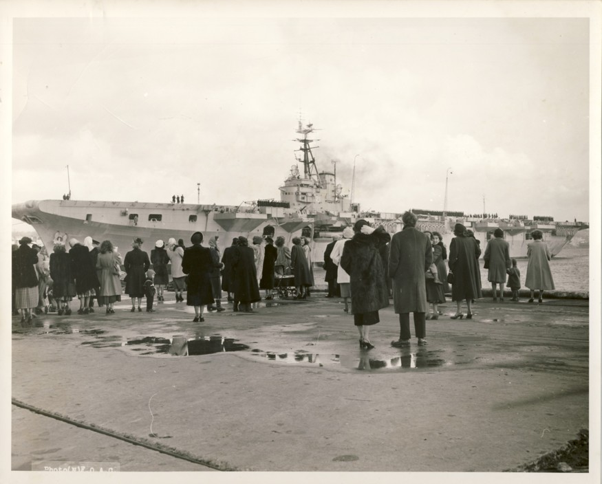 Image for RCN Photograph of HMCS Magnificent coming into Halifax Harbour (1950)