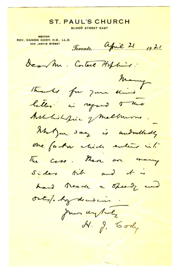 Image for Manuscript letter to Castell Hopkins from Henry John Cody written on 'St. Paul's Church' letterhead , dated April 21 1921