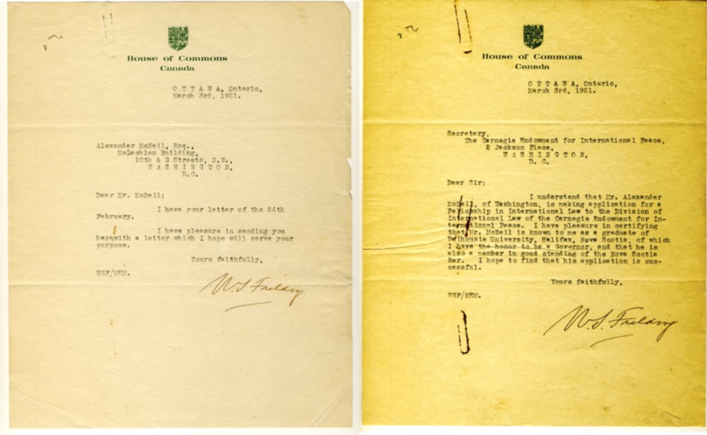 Image for Two signed letters from William Stevens Fielding concerning the application of Alexander McNeil for a Fellowship in International Law to the Division of International Law of the Carnegie Endowment for International Peace