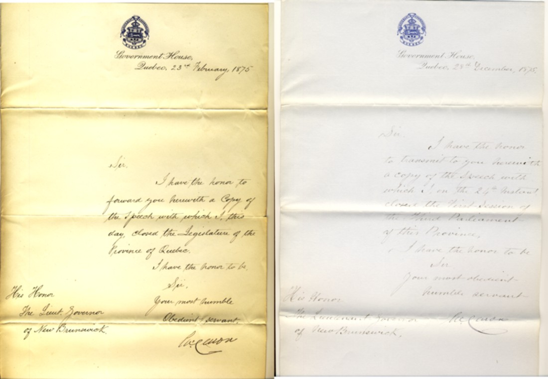 Image for Two Manuscript letters from René-Édouard Caron to His Honour The Lieutenant Governor Fredericton, New Brunswick, dated Quebec 23rd. February  and 28th December