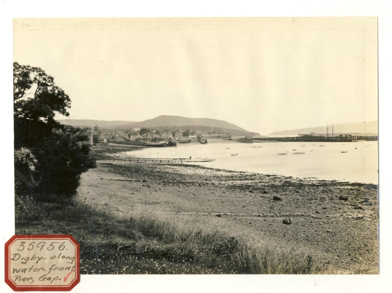 Image for Photograph of Digby  looking toward Digby Pines (Sticker reads  Digby along water front Pier Gap)