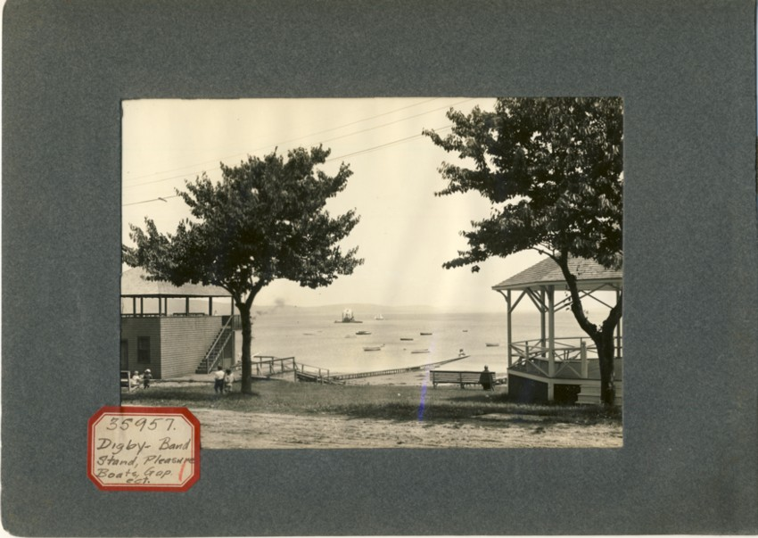Image for Photograph of Digby waterfront (sticker reads Digby-Band Stand, Pleasure Boats, Gap,ect)