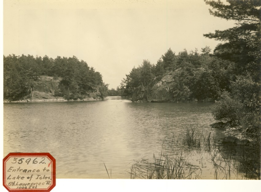 Image for Photograph of Lake of Isles in the St. Lawrence River (Sticker reads Entrance to Lake of Isles St. Lawrence R 1000 islands)