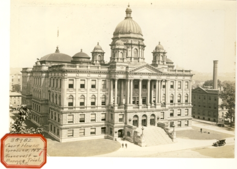 Image for Photograph of Syracuse Court House (New York) (Sticker reads Court House Syracuse NY Roosevelt-Barnes Trial 1915)