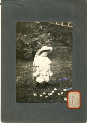 Image for Photograph of child with petticoats & hat looking down at a pile of eggs in the grass (Sticker reads Spilling Her Eggs)