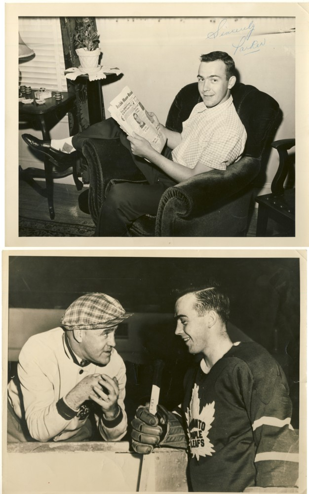 Image for Parker MacDonald NHL player (2 photographs circa  1954-1955; one signed by Parker; one with King Clancy coach of the Maple Leafs )