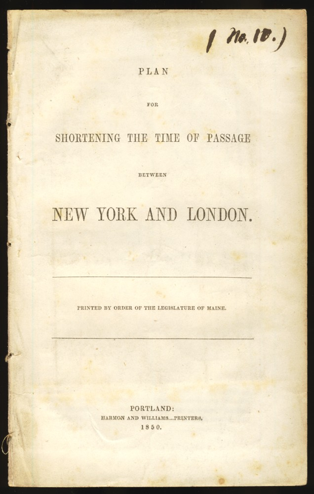 Image for Plan for Shortening the Time of Passage Between New York and London.