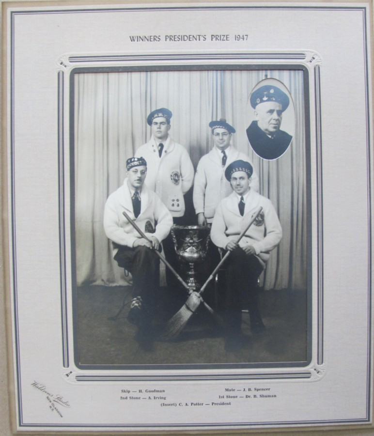Image for Photograph of Winners President's Prize 1947 with Waldren's Studio New Glasgow engraved on mat along with names of the  curlers and the President (of Club)