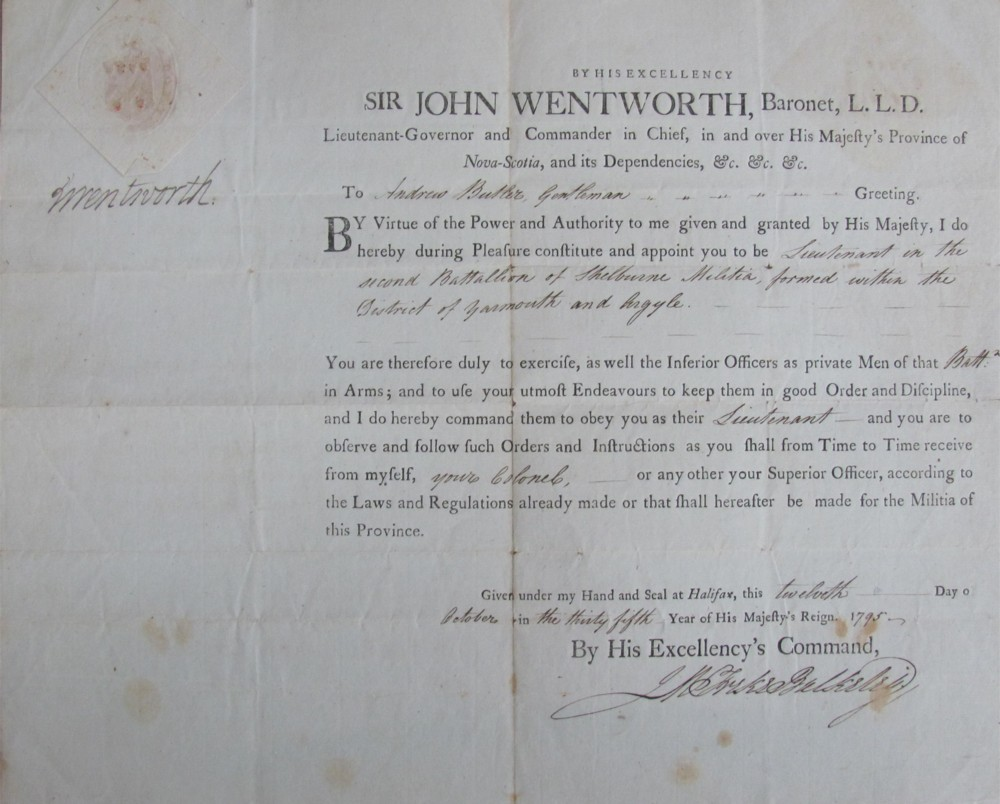 Image for Autograph Document signed, J. Wentworth, dated Halifax 12th October, 1795, appointing Andrew Butler, Gentleman, a Lieutenant in the Second Battalion of Shelborne Militia, counter signed James Michael Freke Bulkeley as Provincial Secretary.