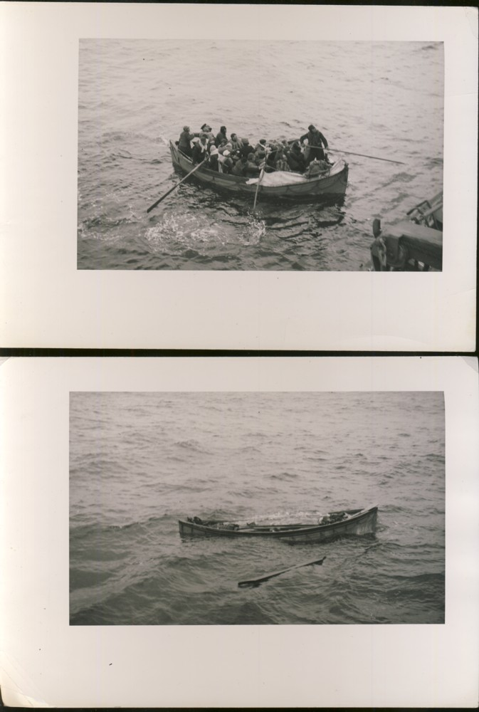 Image for Two photographs of a rescue at sea and a damaged life boat with body of a sailor in the stern