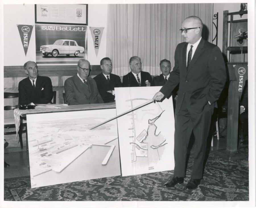 Image for Photograph of the announcement of the Isuzu Japanese's car plant to be built in Point Edward, Cape Breton Island to manufacture the Isuzu Bellett