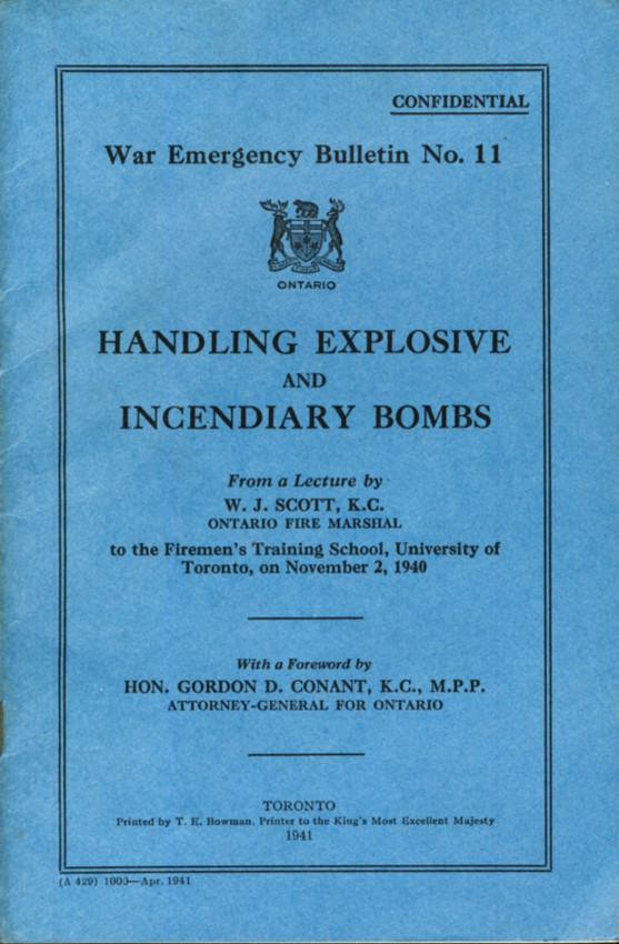 Image for Handing Explosive and Incendiary Bombs. Confidential. War Emergency Bulletin No.II