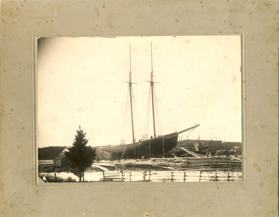Image for Photograph of schooner being built in a shipyard