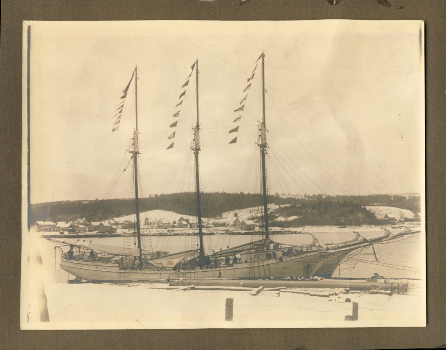 Image for Photograph of three mast sailing ship in the LaHave River
