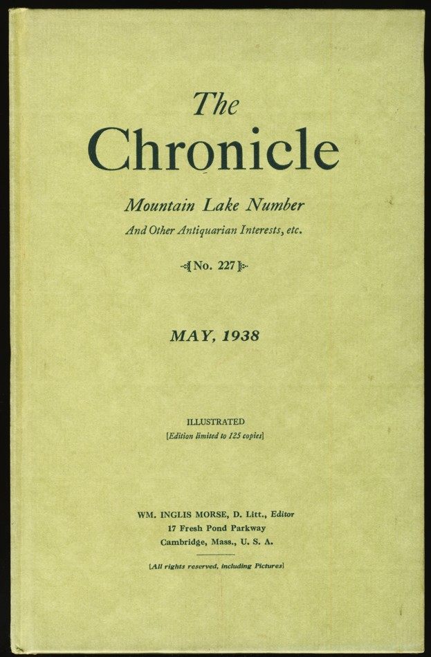 Image for The Chronicle No. 227, May, 1938 Mountain lake Number And Other Antiquarian Interests, etc.