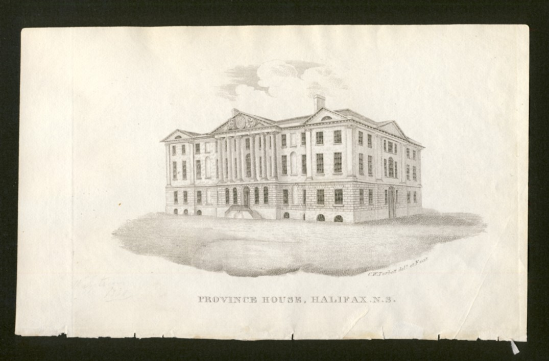 "Image for Province House Halifax, N.S.   Drawn and Engraved by C.W. Torbett for Haliburton's ""Historical and Statistical Account of Nova Scotia"""