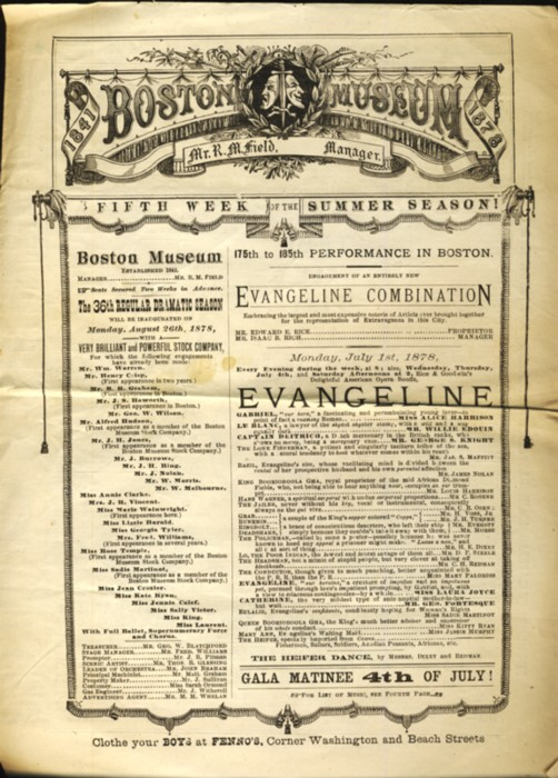 Image for Playbill  for the Fifth Week of the Summer Season  including an engagement  of an entirely new Evangeline Combination
