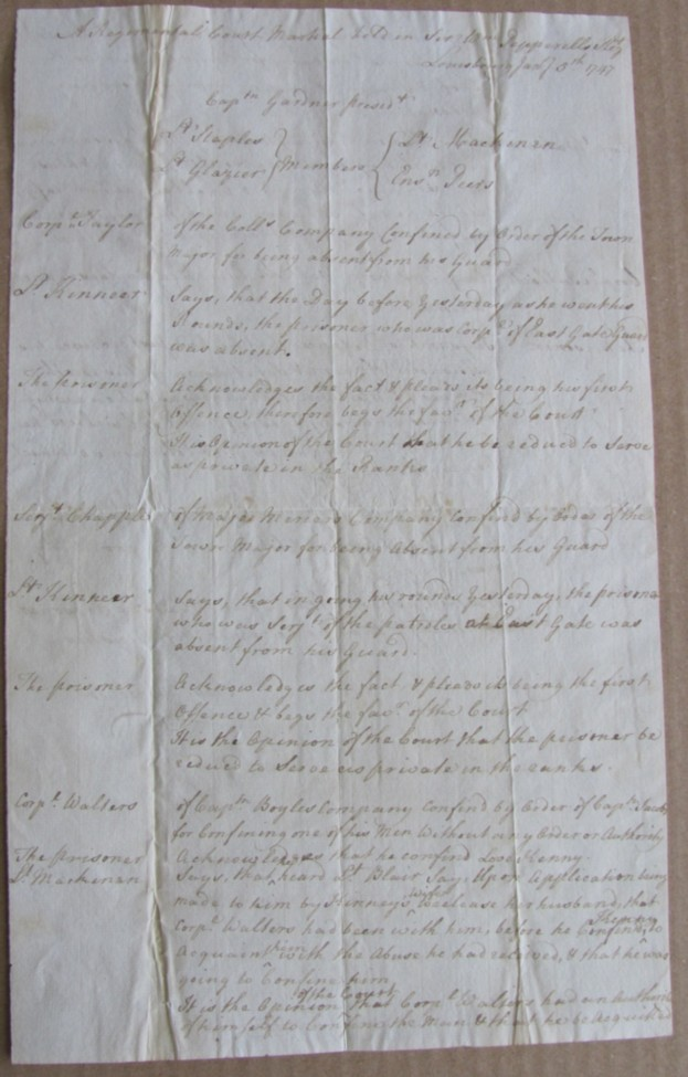 Image for An Original Court Martial Document, signed by Captain Samuel Gardner as President of a Regimental Court Martial held in Sir Wm. Pepperell's Regt.