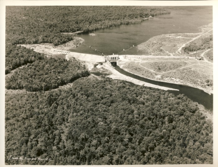 Image for Three black & white aerial photographs of the Lower Lake Falls hydroelectric dam (1930s) on  the Mersey River, Nova Scotia