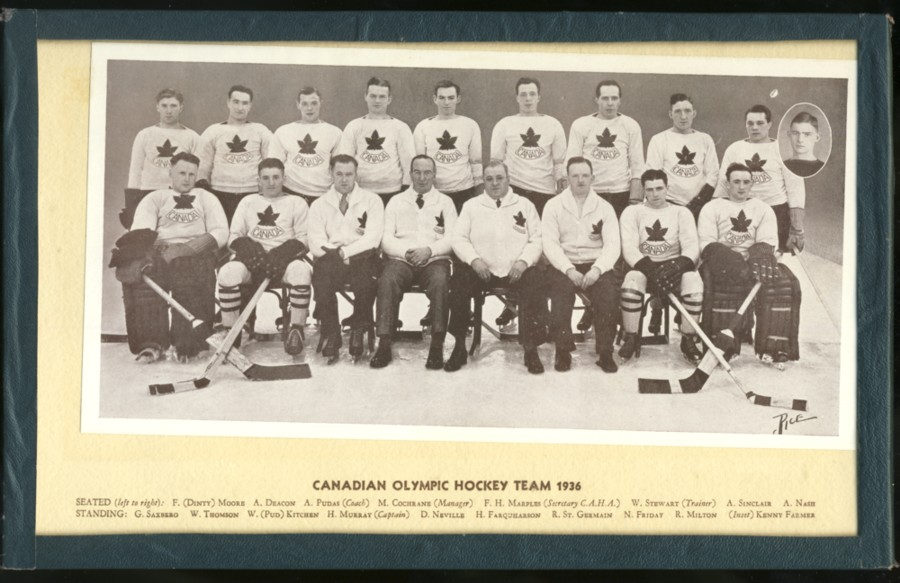 Image for Black & White photograph of the Canadian Olympic Hockey Team, Port Arthur Bearcats, 1936 with all the players and coaches listed
