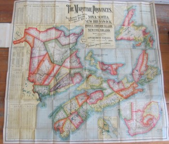 Image for The Maritime Provinces. New Railway, Post Office, Municipal Division, and County Map of Nova Scotia, New Brunswick, Prince Edward Island, Newfoundland, With Distances. Compiled from the latest Government Surveys and other official sources. 1900