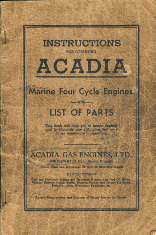 Image for Instructions For Operating Acadia Marine Four-Cycle Engines Also List of Parts