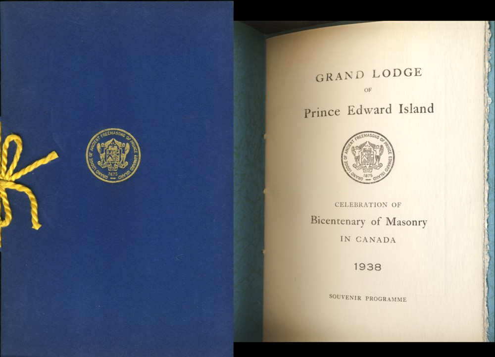 Image for Grand Lodge of Prince Edward Island Celebration of Bicentenary of Masonry in Canada 1938 Souvenir Programme