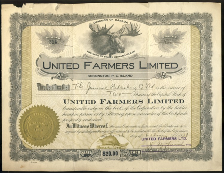 Image for Numbered stock certificate from United Farmers Limited Kensington, PE Island to The Journal Publishing Co. Ltd.  For two shares , number 214 dated Feb. 1921 signed by Pres & Sec'y Treas.  with Company seal