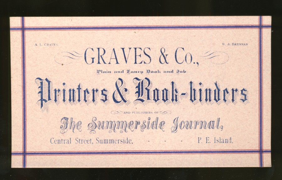 Image for Advertising cards  Graves & Co. Printers and Bookbinders  of Summerside Prince Edward (1890s)