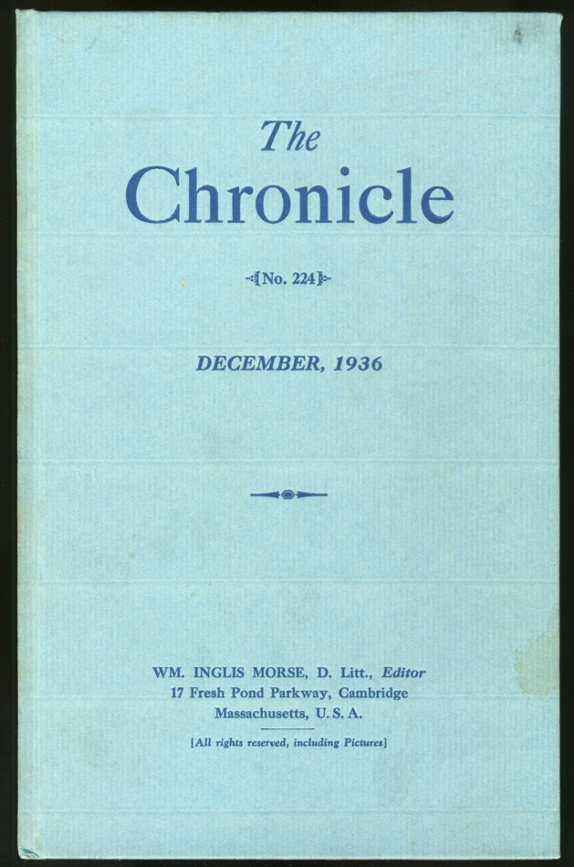 Image for The Chronicle {No.224} December, 1936 Antiquarian number