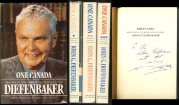 Image for One Canada Memoirs of the Right Honourable John G. Diefenbaker (in 3 volumes) Signed
